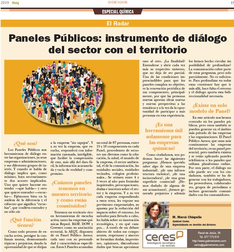 Panels Públics: Instrument de diàleg del sector amb el territori
